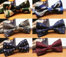 Men Polyester Camo Tartan Grids Paisley Flowers Polka Dots Bow Ties Necktie TSBWT0018