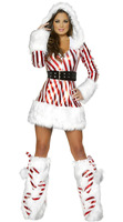 Red White Striped Christmas Costumes Dress For Adult, With Accessory Hat + Belt + Leggings