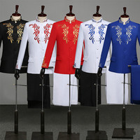 Men Stand Collar Slim Traditional Chinese Suit Embroidered Tunic Suits Spring Autumn Zhong Shan Long Sleeve Business Clothes