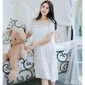 Vestido de Casa camisón de Las Mujeres ropa de dormir Para Las Mujeres blanco Vestido de Princesa de Encaje Ropa de Dormir Camisón Femenino Largo Verano 554
