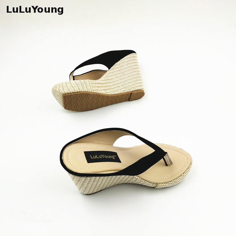 fa408c322cb9 women summer wedges leisure beach sandals platform Bohemian Straw slides  shoes sy 1007-in Slippers from Shoes on Aliexpress.com