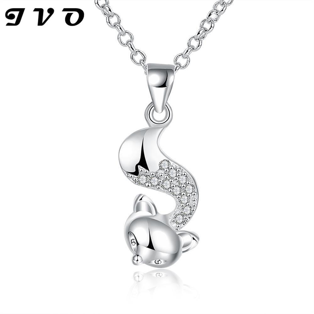 Silver Plated Zircon Cute Fox Pendant Necklace font b Women b font Silver Chain Necklaces Pendants