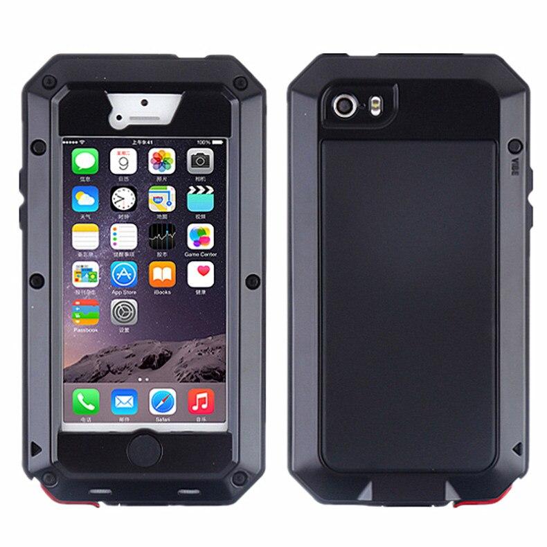 Цена за Роскошные Proofings Водонепроницаемый Противоударный Пылезащитный Сталинита Металлической Крышкой Case для iPhone 5 5s Крышка Телефона Саппу