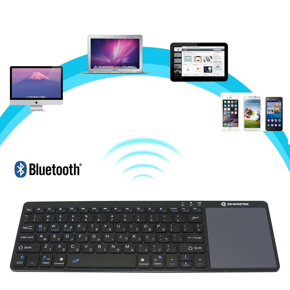 Zoweetek K12BT-1 Ultra ince kablosuz İbranice Bluetooth klavye dokunmatik ped ince hafif taşınabilir Android 3.0 Windows XP 7 8