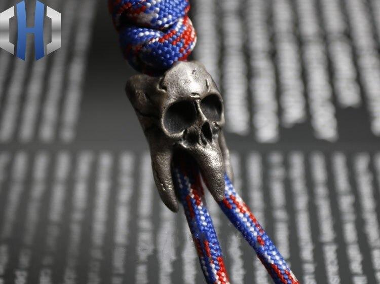 Стерлинговое Серебро 925 пробы, ручная работа, винтажный зуб, парик, Череп, кулон, EDC нож, beadsTool, аксессуары, брелок - 2