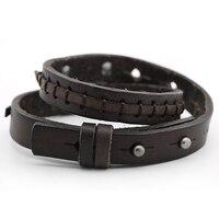 Vintage Mens Cowhide Cool Wristband 1 3cm Width Punk Charm Bracelet Women Stainless Steel Buckle Genuine