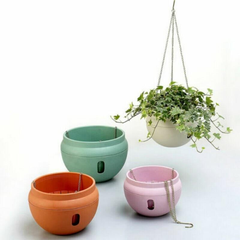 4 Colors Double Layered Hanging Basket Water Storage Design Hanger Pot Garden Plant Decor Resin Planter
