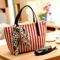 1pc Canvas Fringe Bags Women Messenger Bags With Leopard Scarves Shoulder Handbags New 2015 -- BIA098 PR30 Wholesale