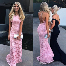 Latest Halter Neck Pink Mermaid Long Evening Dresses Lace Backless Formal Gowns Prom Vestido De Noche
