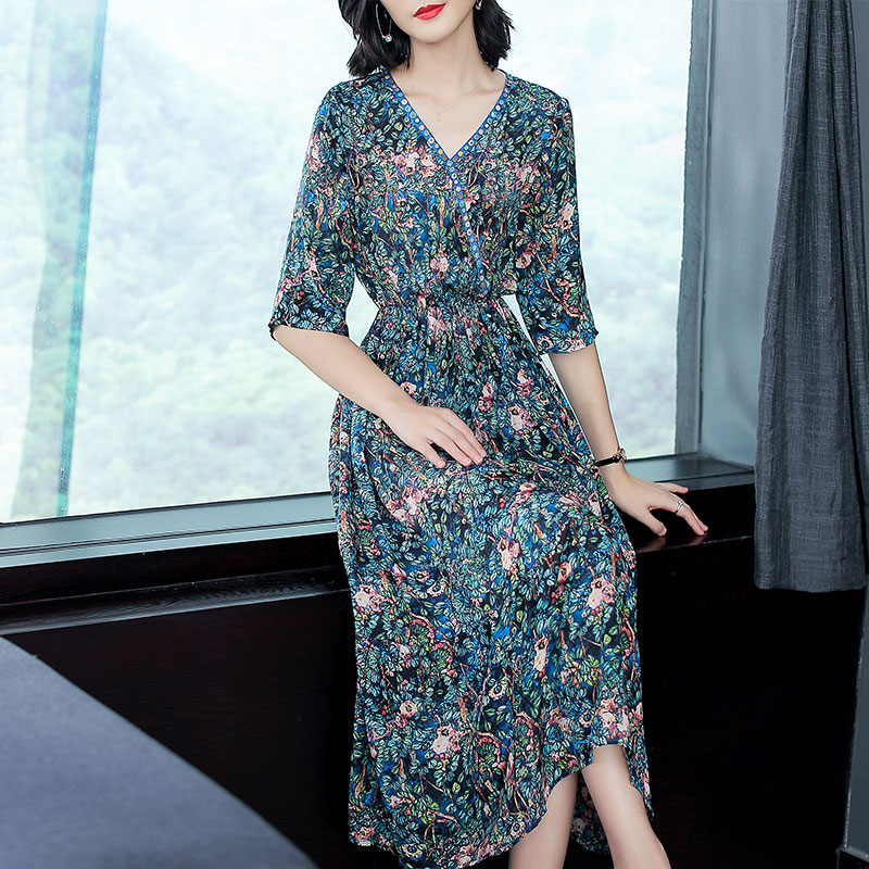 Real Silk Dress Fashion High Quality 2018 New Summer Women Dresses floral Printed Retro Dress Loose Casual Half Sleeve Plus Size