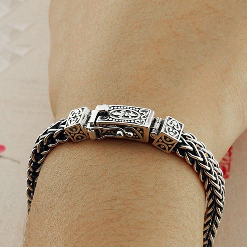 Настоящее серебро 925 проба браслет для мужчин и женщин ширина 8 мм Винтаж Панк Рок проволока цепочка из звеньев и браслетов тайское серебро ювелирные изделия - 6