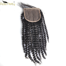 Kinky Curly Lace closure Pre Plucked Brazilian Remy Human Hair Closure 4x4 Swiss Ross Pretty Product