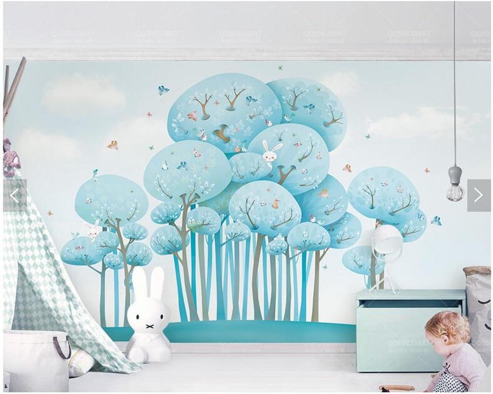 カスタム子供壁紙 森林ウサギバーディー 3d漫画の壁画子供部屋公園の