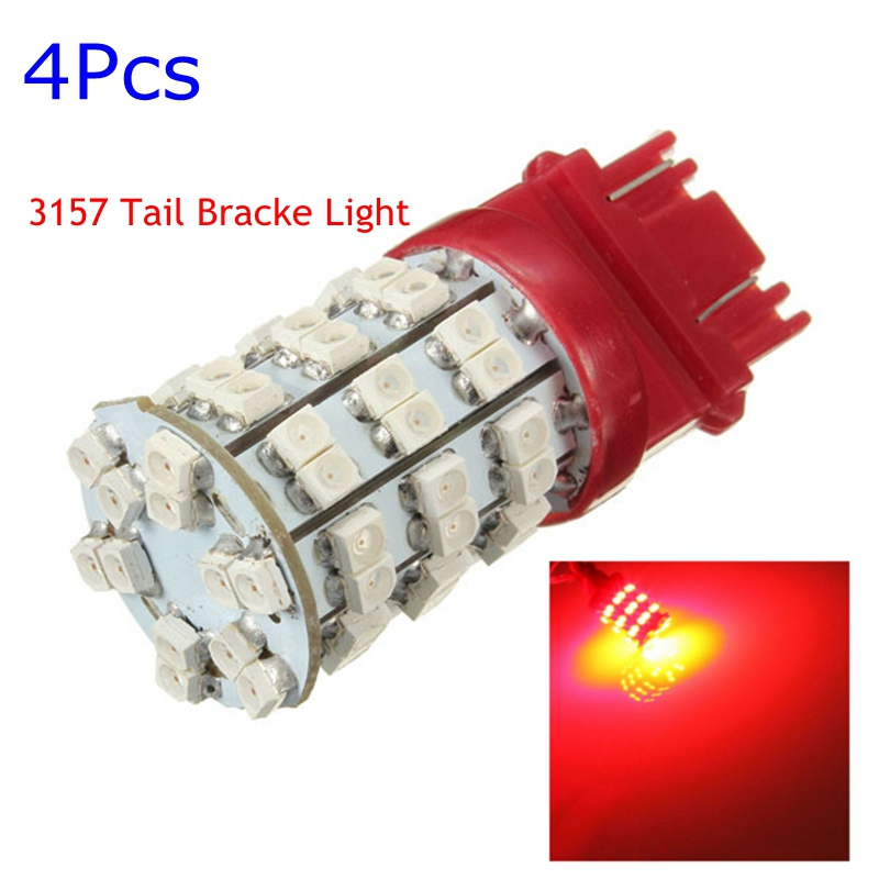 Hot Sale 4x Car Auto LED Red Rear Turn Signal Light Stop Turn Signal Tail Brake Stop Lamp 60 SMD Bulb 3157 T25 3057 4114 1 x t25 3157 50w led car auto signal brake stop tail light bulb signal lamp white external lights