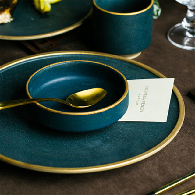 Ceramic Gold Inlay Plates Steak Food Dish Nordic Style Retro Tableware Bowl  Ins Dinner Plate Cup High End Dinnerware Set