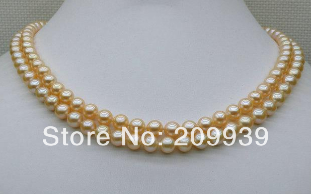 Бесплатная доставка Лидер продаж >>>@@ as3352 натуральный розовый Золотой 2std 6.5 7 мм AAA + Круглый Akoya Жемчужное ожерелье 17/18