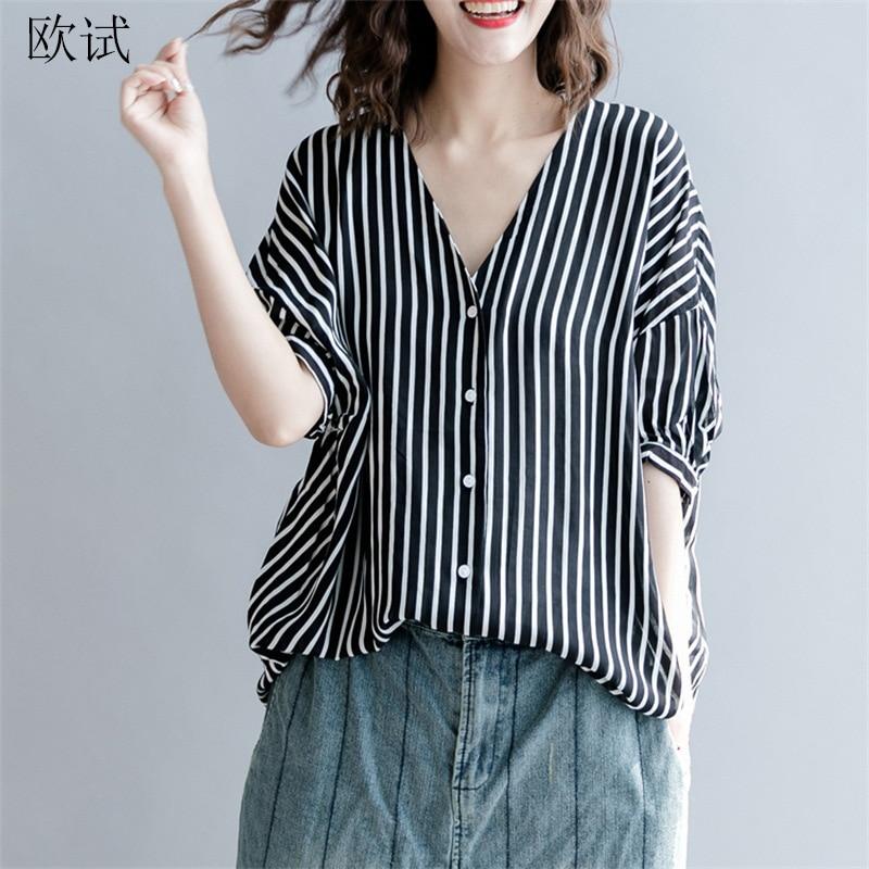 Aliexpress.com : Buy Women Summer Fashion Striped Blouse V