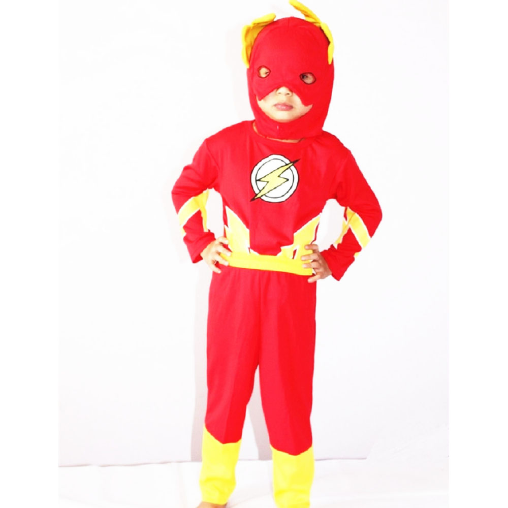 3-7 Years Boy The Flash Costume Halloween Costume For Kids Blitzmann Barry Allen Party Cosplay Costume Toddler 3 Piece Suit
