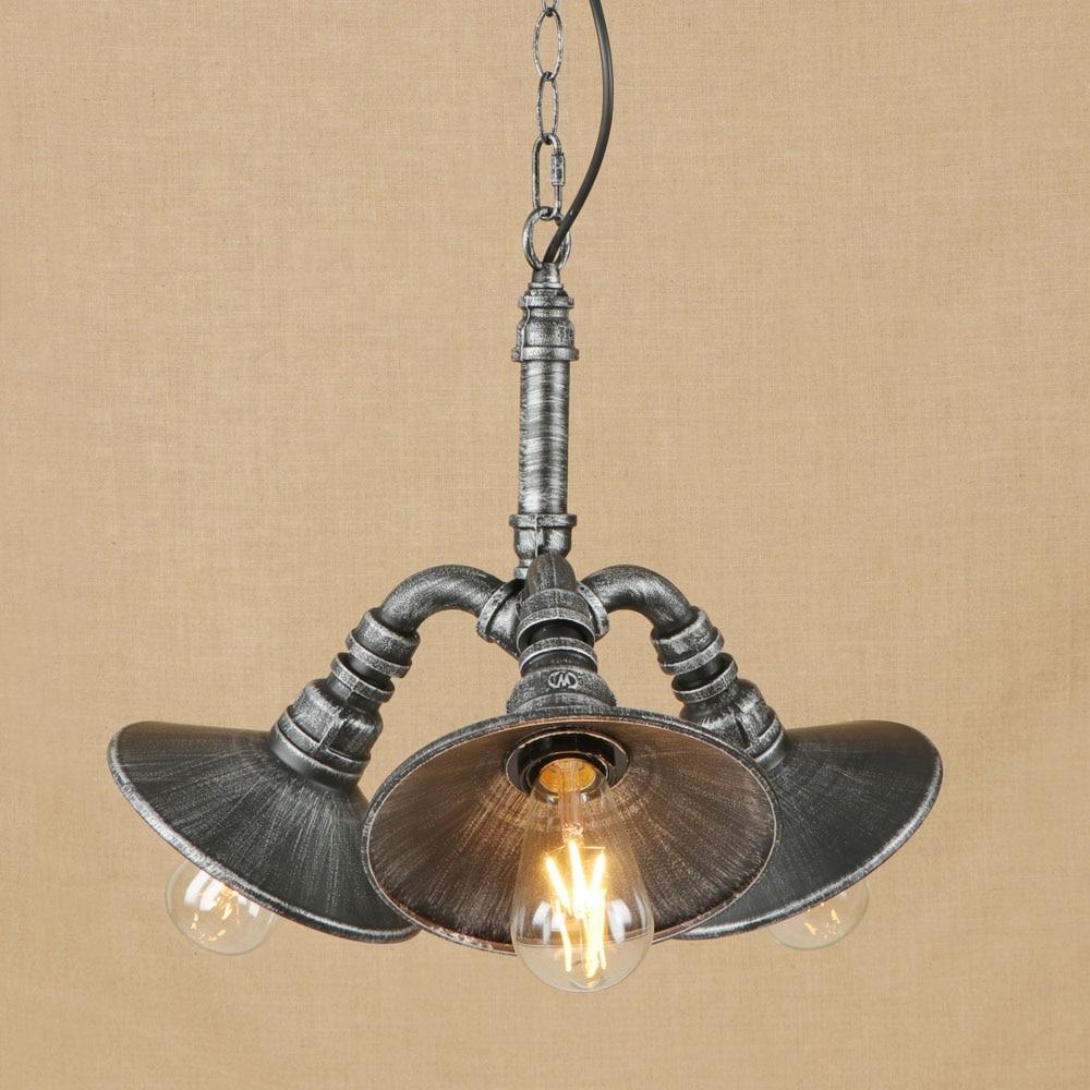 Vintage black or chrome iron water pipe pendant light led 3 lamp fixture e27 110v 220v frisky lighting