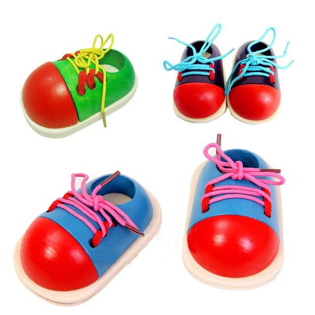 1 Шт. Случайный Дети Монтессори Развивающие Игрушки Детские Деревянные Игрушки Малыша Шнуровкой Обувь Раннее Образование Монтессори учебных Пособий