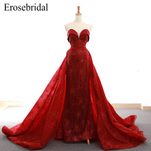 цена на New 2019 Design Red Mermaid Evening Dress Luxury Beaded Women Evening Wear with Chapel Train Elegant robe de soiree Lace Up Back