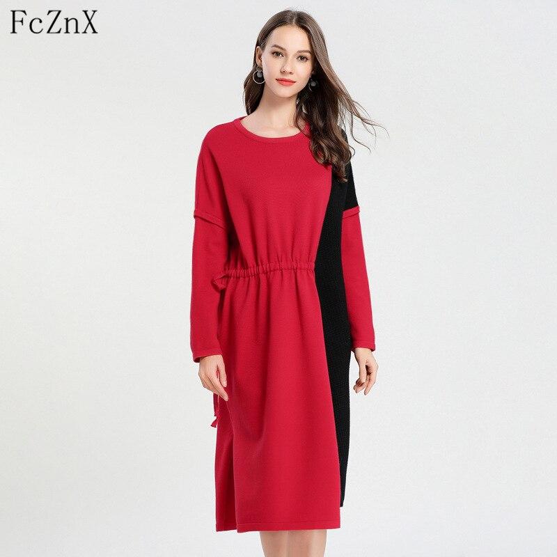 Automne hiver 2018 femmes pull robe tricoté géométrique o-cou à manches longues lâche femme vêtements décontracté dame robes