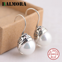 BALMORA 925 Sterling Silver Simulated Pearl Drop Earrings For Women Gifts Retro Silver Earrings Fashion Jewelry