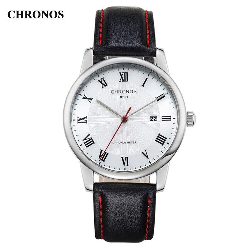 2016 hot brand CHRONOS New Fashion Leather Strap  Watches Men Quartz Watch Waterproof  Wristwatches Male Table Relojes lige horloge 2017
