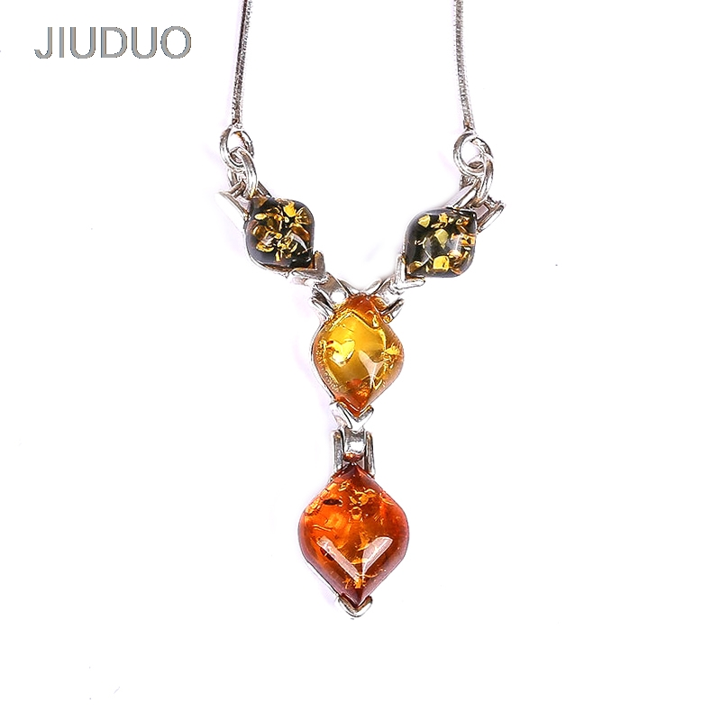 JIUDUO Europe and the United States simple100% 925 sterling silver inlaid 100% natural amber beeswax necklace female models s925 pure silver personality female models new beeswax