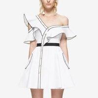 2017 Self Portrait Dress Womens Summer Style White Sexy Casual One Shoulder Ruffle Dresses Vestido De