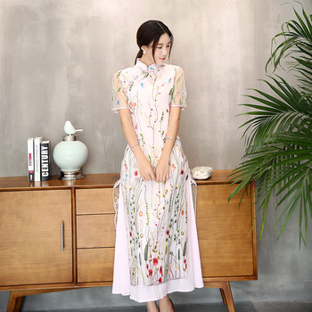 New improved Cheongsam short sleeved embroidered dress lace woman Asian retro style long fashionable dress Qipao Ethnic Ao Dai
