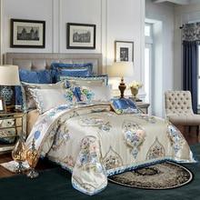 2018 Bohemian Grey Tan Bedding Set Silk Cotton Embroidery Jacquard Queen King Size Duvet Cover Flat Sheet Bedspread Pillowcases