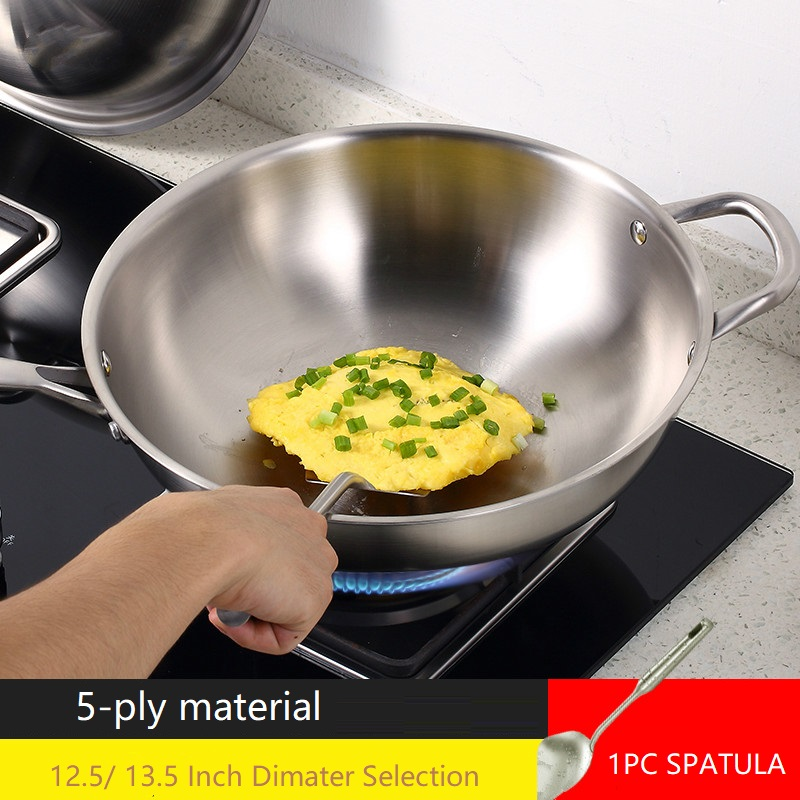 Inox Cooking Wok High Quality Wok Frying Pan Cook Pot Silver Kitchen Utensil Cookware Stainless Steel