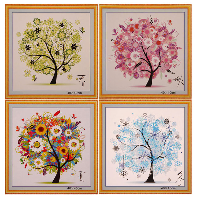 Chinese Cross Stitch Kit Embroidery Four Seasons Tree Counted Cross