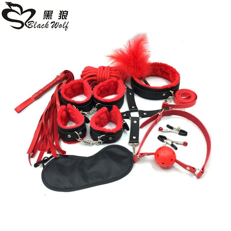 10 unids/lote nuevo cuero bdsm conjunto de restricciones de juegos para adultos juguetes sexuales para parejas mujer esclavo juego SM Sexy erótico juguetes de las esposas