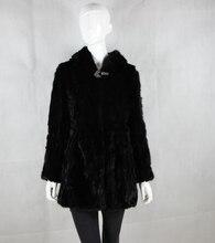 Real Piece mink fur coat with hood Women's Genuine leather Fur coat Natural Mink Fur Jacket Outwear