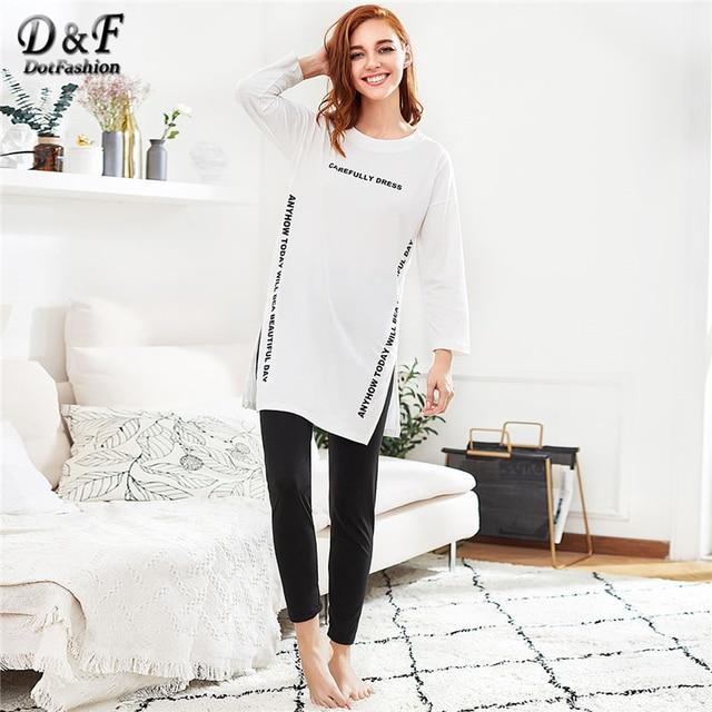 Dotfashion Embroidered Slit Side Long Pajama Set 2019 New Black And White Letter Round Neck Long Sleeve Women Pajama Set