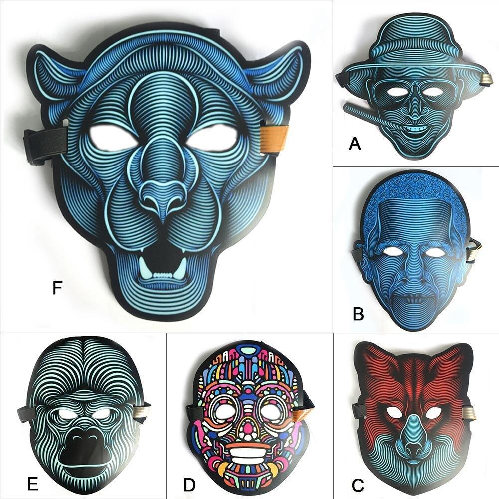 Máscara de alambre EL de alta calidad para una noche de fiesta horrible y decoraciones de fiesta LED máscara de luz fría con sonido activado