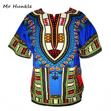 Dashiki New African Clothing Traditional Print Tops Fashion Design African Bazin Riche Clothes Dashiki T-shirt For Men Women(China)