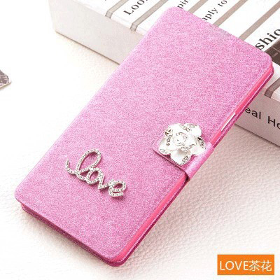 Luxury PU leather Flip Cover For Samsung Galaxy Mega 5.8 i9152 9158 Phone Case Cover With LOVE & Rose Diamond