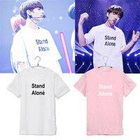 KPOP BTS Concert JUNGKOOK Shirt 2016 K POP Hot Sale Classic Black White Pink Solid Cotton