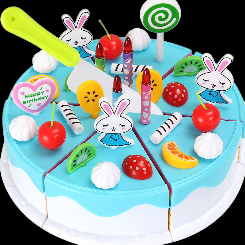 Plastic Simulation Fake Food Fruit Cake Cutting Toy Birthday Gifts for Kids