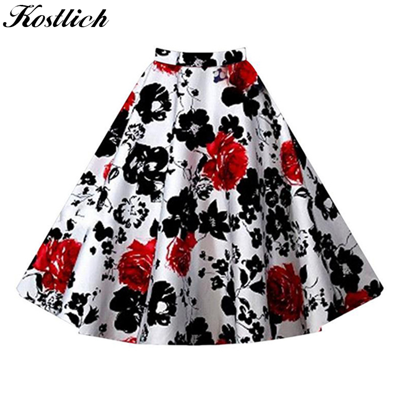 Kostlich 8 Style Flower Print Skirts Womens High Waist 50s Summer Vintage Skirt Elegant Retro Women Midi Skirt Plus Size