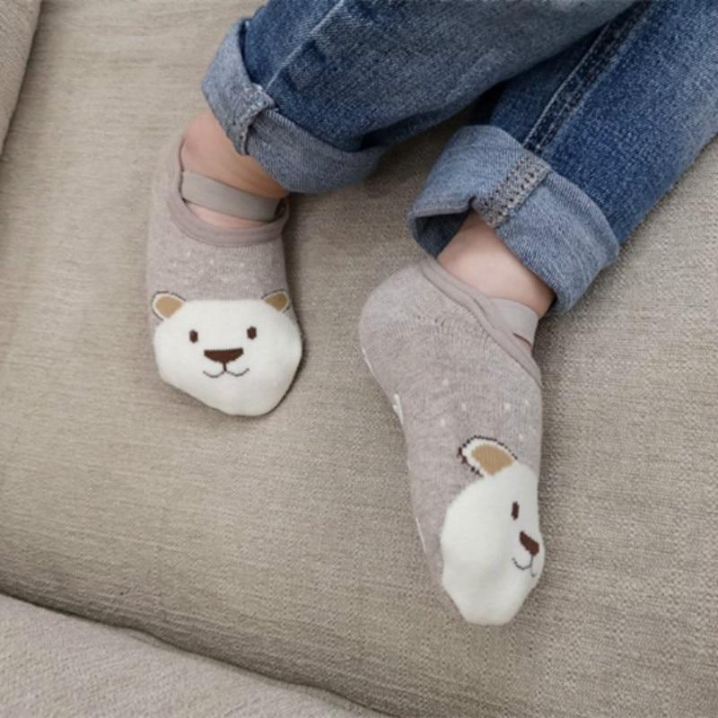 1 paire mode bébé filles garçons mignon dessin animé anti-dérapant coton bambin chaussettes de sol motif Animal premier marcheur chaussures pour nouveau-nés 2