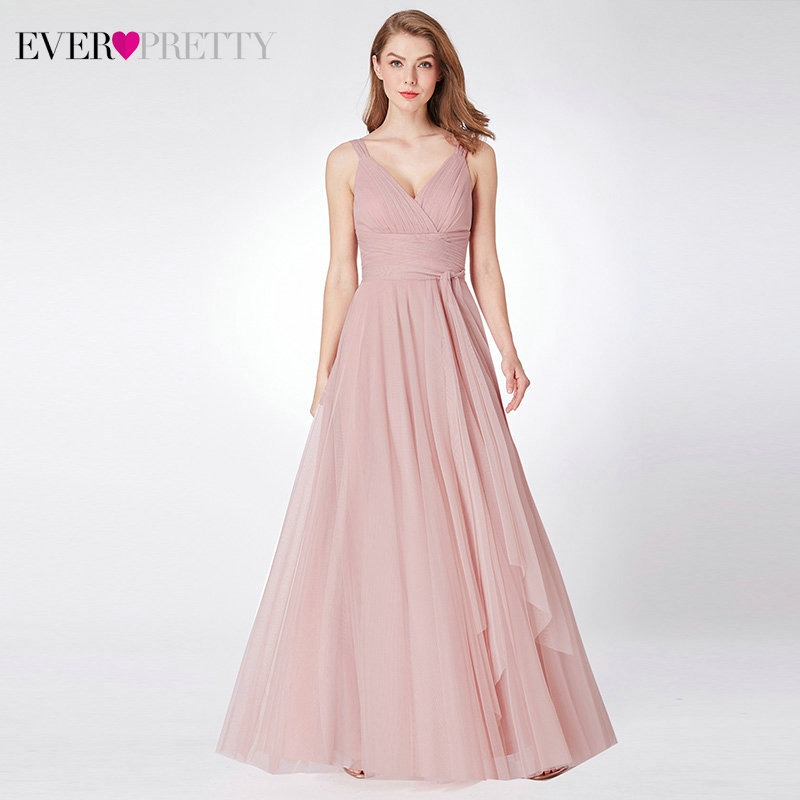04ef0296f798f Beading Prom Dresses 2019 V neck Pink High Split Tulle Sweep Train  Sleeveless Evening Gown A-line Lace Up Backless Vestido De