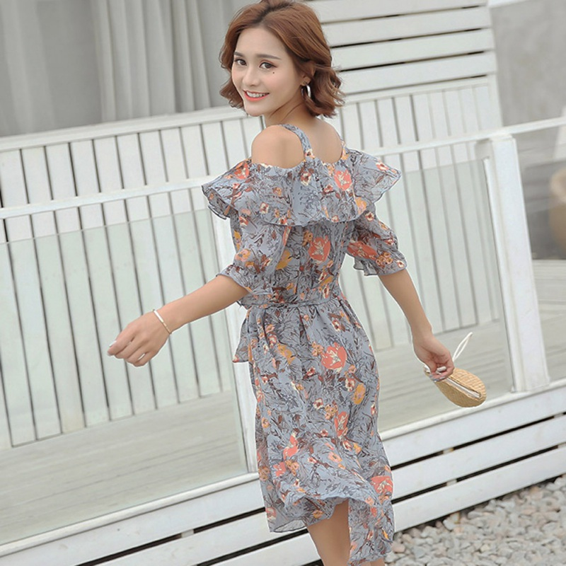 Summer Floral Printed Ruffles DressFor Women Off Shoulder Spaghetti Straps Short Sleeves Dress 2018 Bowties Sashes Vestidos