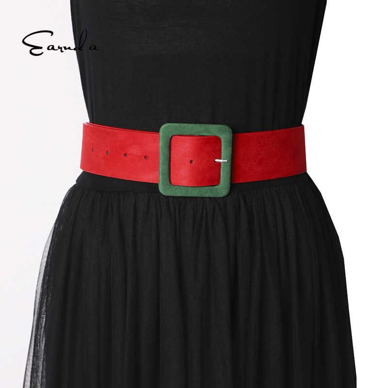 Earnda カジュアルバックルワイドベルト女性のためのドレスジーンズ女性ベルトレディーススエードレザーストラップ Cinturon Mujer
