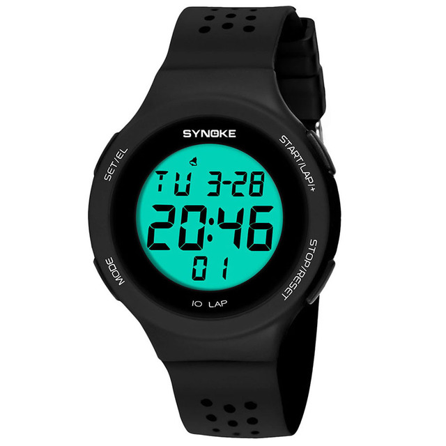 New Fashion LED Sports Watch Luminous Alarm Multi-Function 50M Waterproof Double
