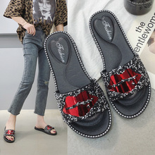 size 36-41 flip flops shoes women slippers cute plush 2019 new female summer red lip drill fashion outdoor non-slip aike asia