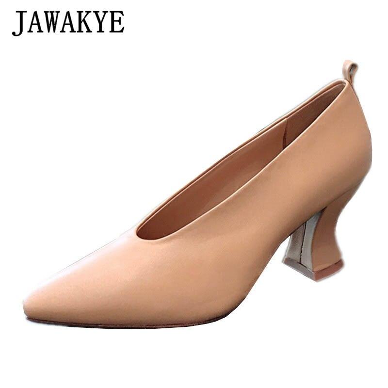 Shoes Nude Women Pumps Pointed-Toe High-Heels Black Grandma's Designer Genuine-Leather